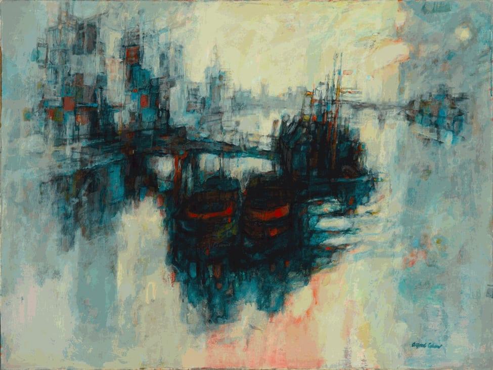 Alfred Cohen (1920-2001) Lambeth Pier 1960 Oil on canvas 76.2 x 101.6 cm Alfred Cohen Art Foundation © Estate of Alfred Cohen 2020