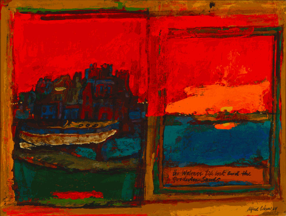 Alfred Cohen (1920-2001) The Walmer Lifeboat and the Goodwin Sands 1964 Casein on board 45.7 x 61 cm Arts Council England © Estate of Alfred Cohen 2020