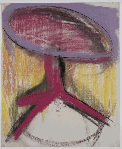 Gustav Metzger Table, 1956 Coloured chalk on paper 56 x 46cm. The Gustav Metzger Foundation