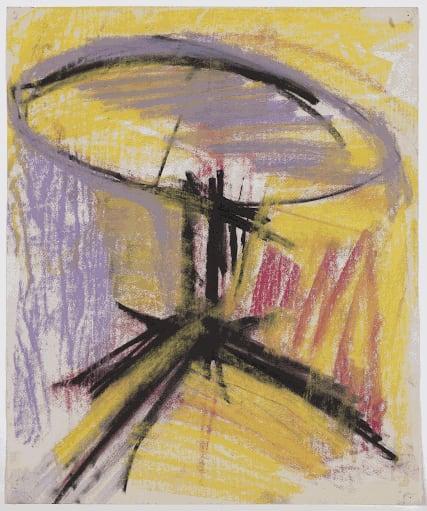 Gustav Metzger Table, 1956 Coloured chalk on paper 46 x 46cm. The Gustav Metzger Foundation