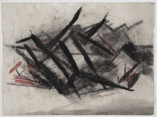 Gustav Metzger Composition, c.1950- 1953 Charcoal and coloured chalk on paper 28.5 x 38cm. The Gustav Metzger Foundation