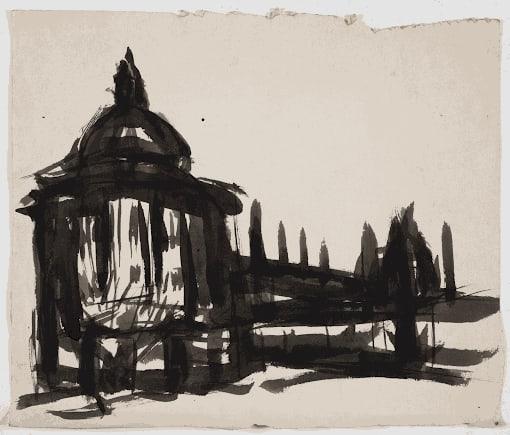Gustav Metzger Radcliffe Camera, Oxford, 1950 Ink on paper 25.2 x 29.5cm. The Gustav Metzger Foundation