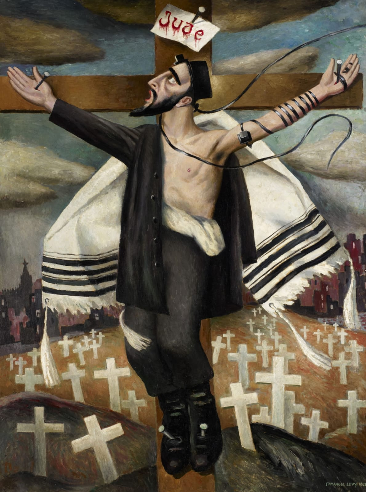 The image of the Crucifixion seen thourgh Emmanuel Levy Discover the unexpected image of the crucifixion and it's role in Jewish Art. Listen as Ben Uri curators guide you through this bold painting by famous Jewish Artist Emmanual Levy. Part of the audio guide produced for Ben Uri gallery 2015 Centenary. Listen