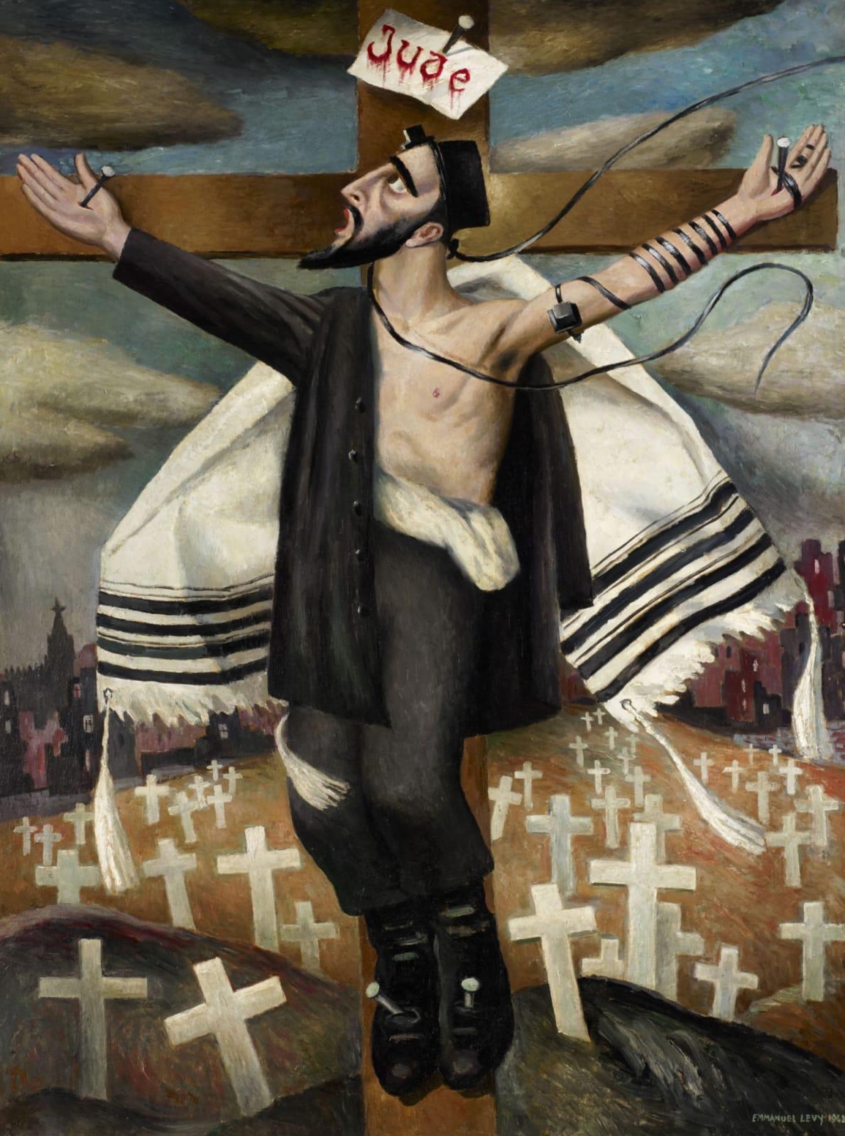 Obraz ukrzyżowania widziany przez Emmanuela Levy'ego Odkryj nieoczekiwany obraz ukrzyżowania i jego rolę w sztuce żydowskiej. Posłuchaj, jak kuratorzy Ben Uri oprowadzą Cię po tym odważnym obrazie znanego żydowskiego artysty Emmanuela Levy'ego. Część audioprzewodnika przygotowanego z okazji stulecia galerii Ben Uri w 2015 roku. Posłuchaj