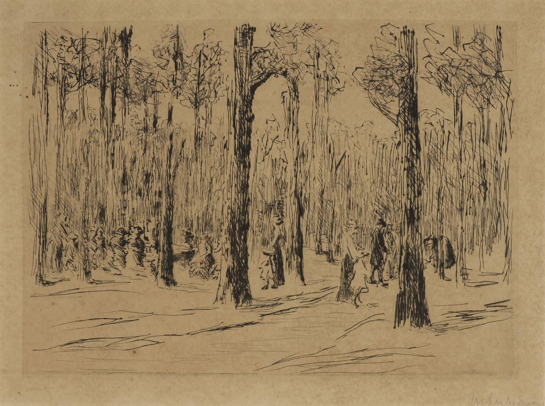 Woods at Scheveningen, Max Liebermann (1847-1935). Etching on paper.