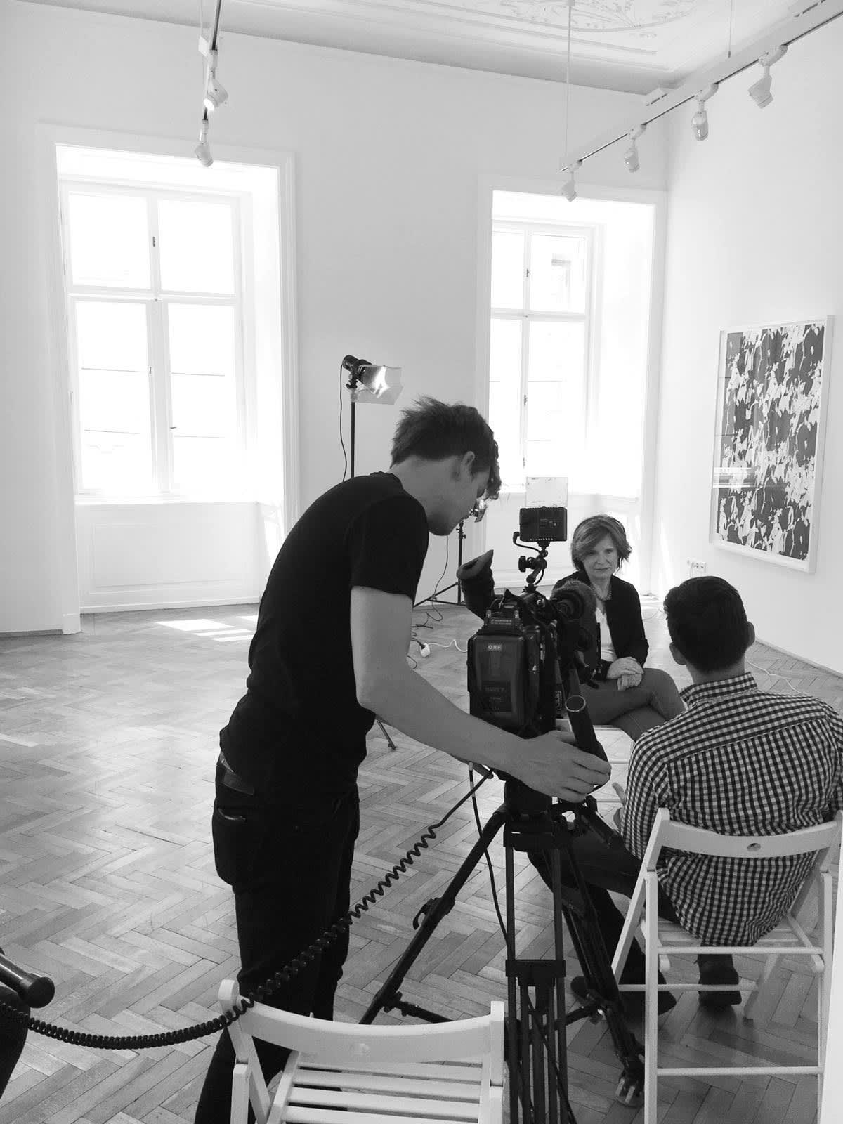 Dr. Edit Schlaffer being interviewd by ORF on the topic of violent extremism in B.LA's Artspace & WwB's Headquarters.
