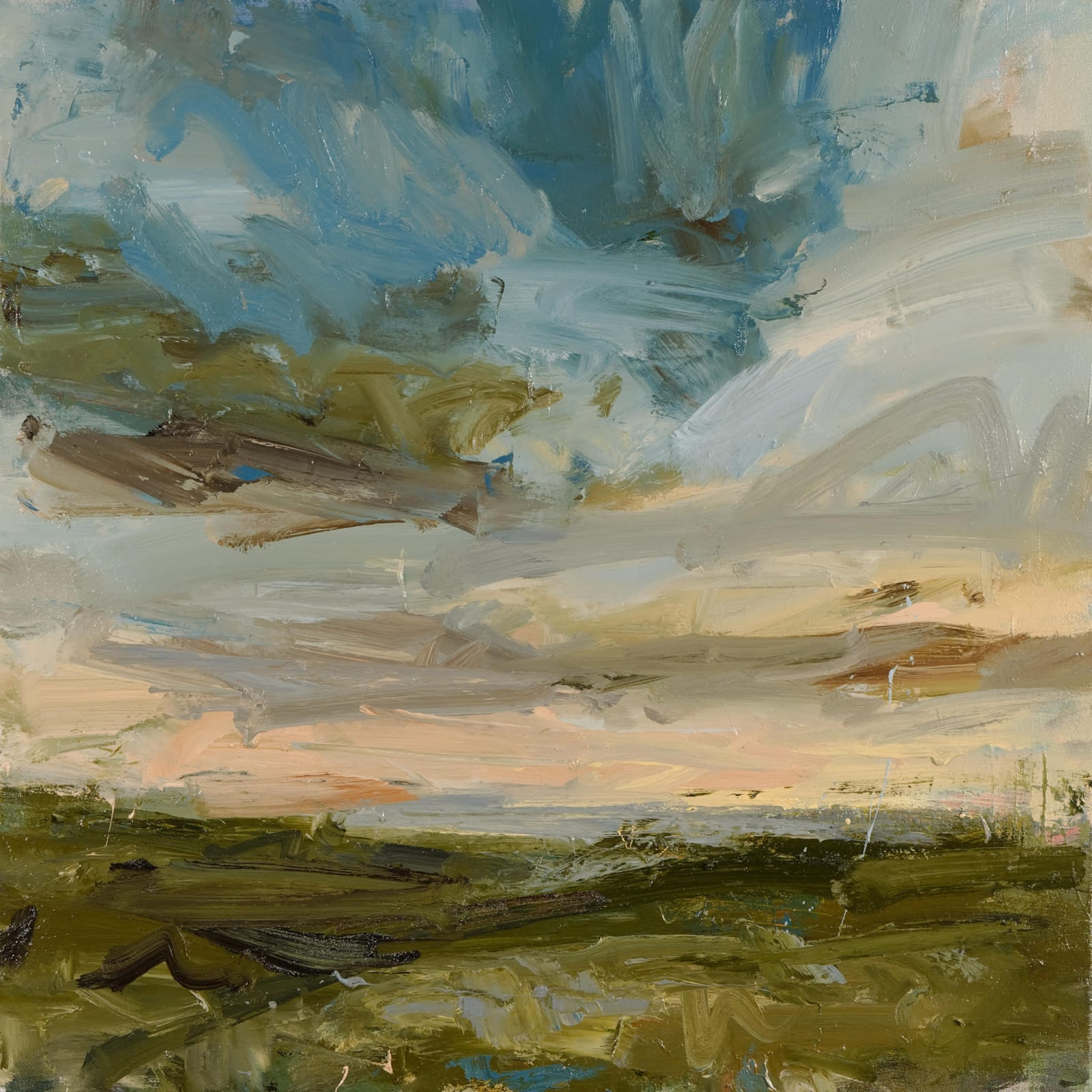 Higher Bojewyan, Peachy Sky oil on canvas 70cm x 70cm