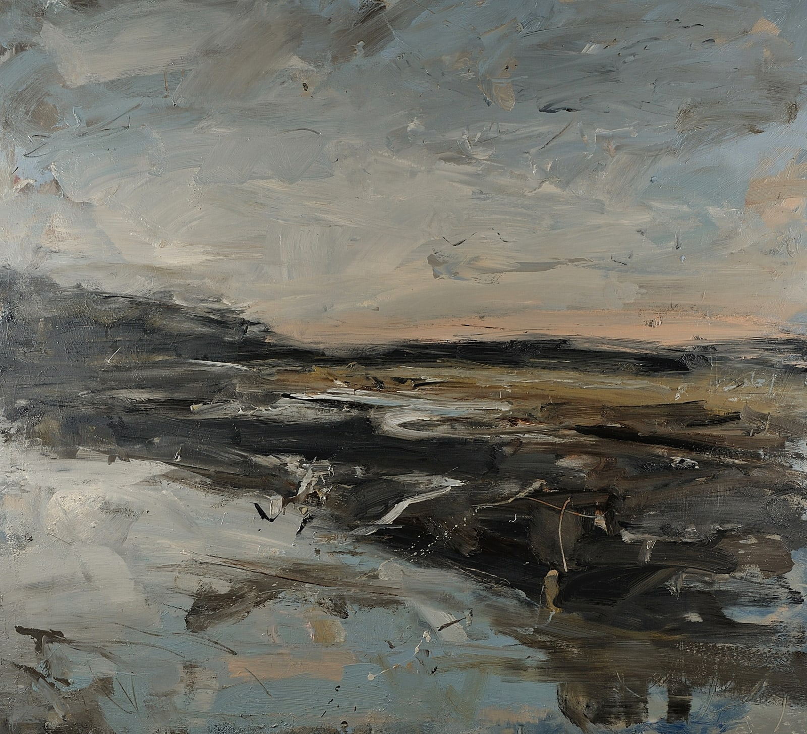 Sky Clearing Over the Estuary, Herons (Pembrokeshire) oil on canvas 100cm x 110cm