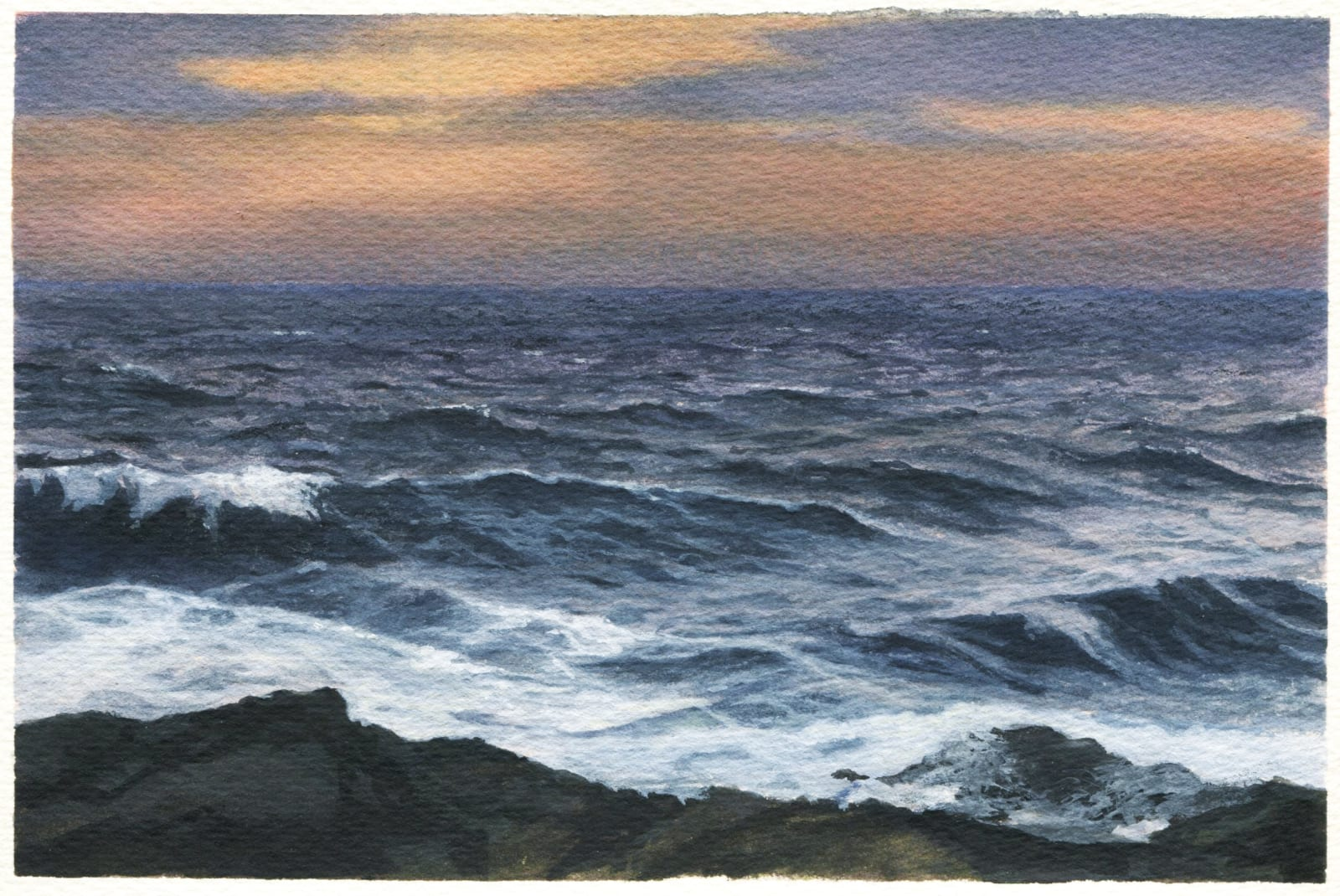 Dozier Bell, Western Cove, twilight, 2020, watercolor on paper, 5.5 x 8 in.