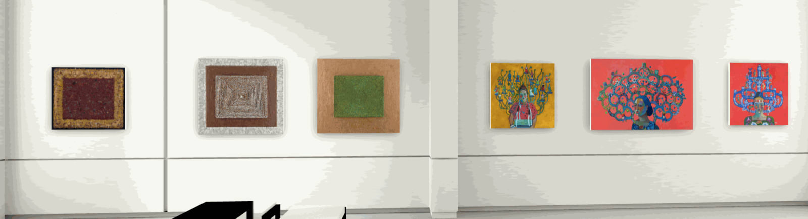 left to right: Feather artworks by Nicki Marx, paintings by Kathy Sosa