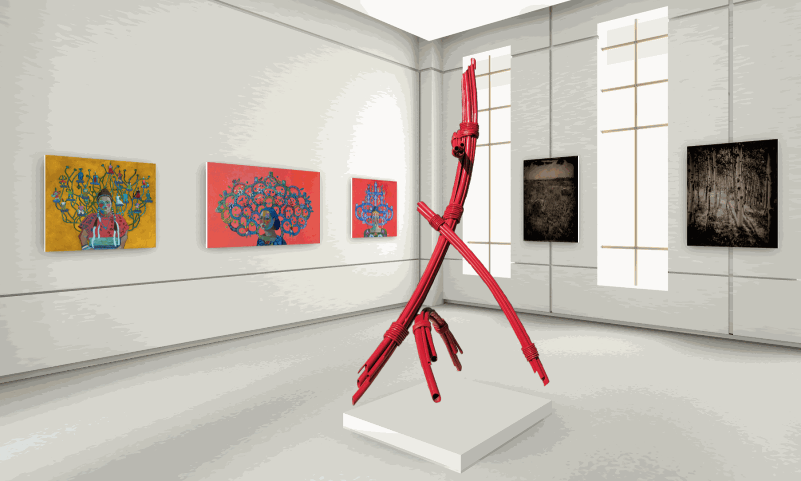left to right: Paintings by Kathy Sosa, Steel Sculpture by Gregory Steel, photographs by London Amara