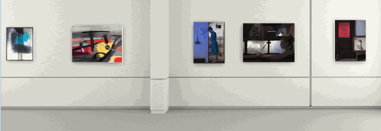 left to right: paintings by Eric Sanders, photographs by Susan Copich