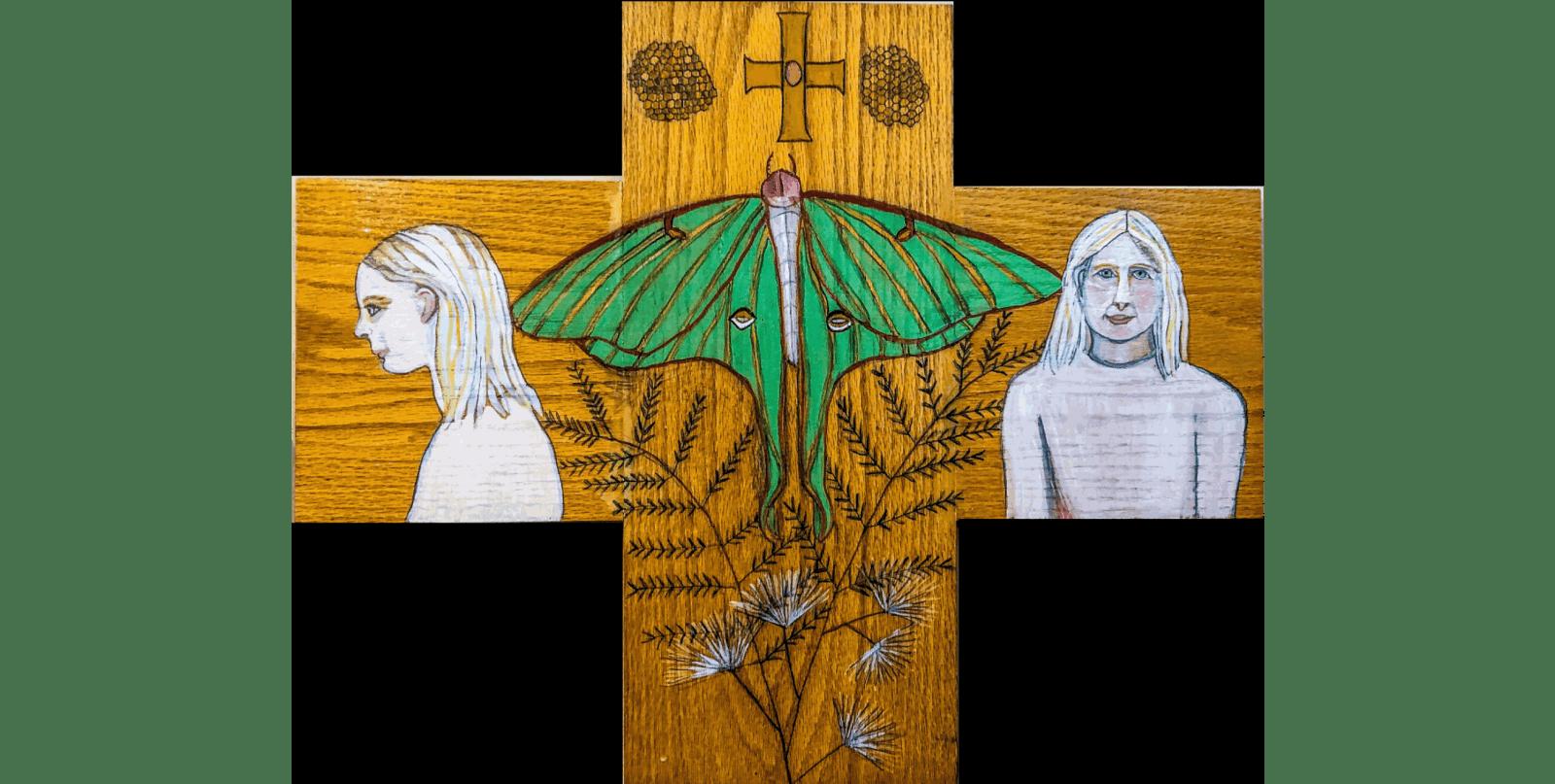 Luna Moth Cross © Deborah Masters 2028 paint on wood, 20 x 21 inches
