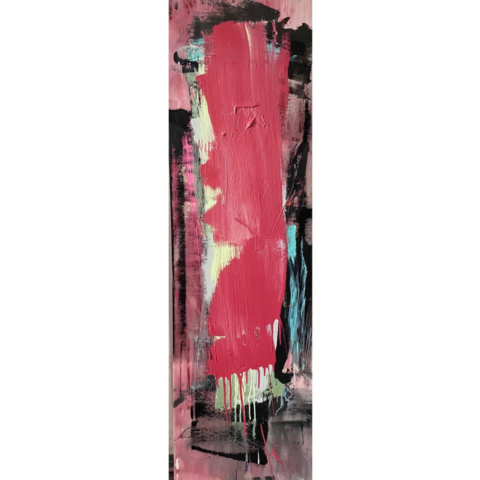 TOWER ©FRANCINE TINT 2021 ACRYLIC ON CANVAS 56 X 16 5 INCHES