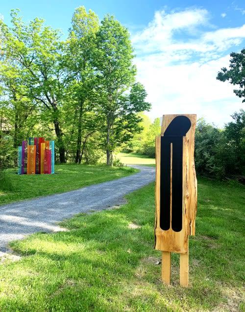 Near right: Double Bump © Christina Tenaglia 2021 Far Left: Color Field Sculpture® Installations and A-MAZE-ING® Public Art © Shelley Parriott 2021