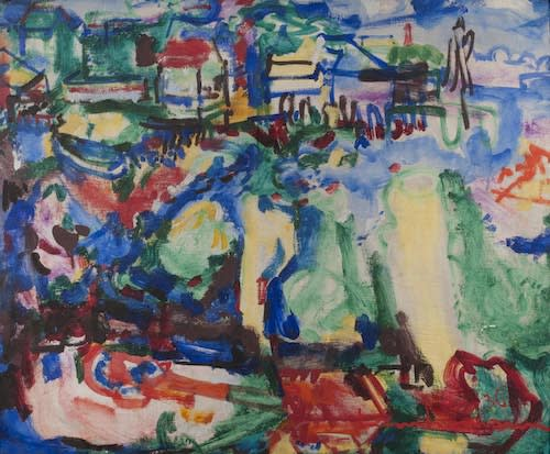 Hans HOFMANN (1880 – 1966) Provincetown - Town and Harbour, 1936 Oil on panel 25 x 30 inches / 63.5 x 76.2 cm Signed and dated bottom right Inscribed and dedicated verso From us to you! Hans and Renate Hofmann, Xmas 1965 HH cat no. 178-1936