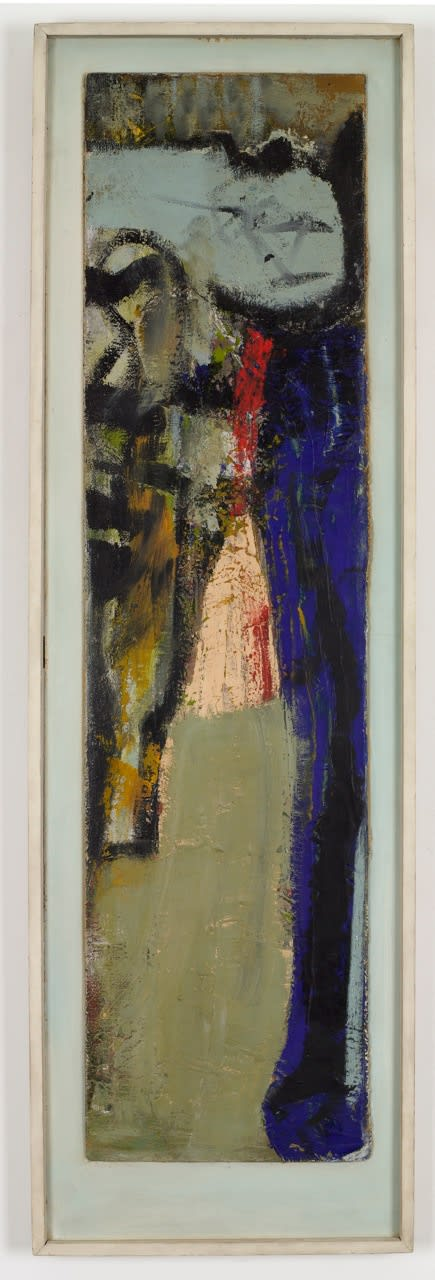 Peter LANYON (1918 – 1964) Albano, 1958 Oil on board 43 x 11½ inches / 109 x 29 cm backboard 48½ x 15 inches / 123 x 38 cm Inscribed, signed and dated, back: ALBANO [circled] / Peter Lanyon / 58