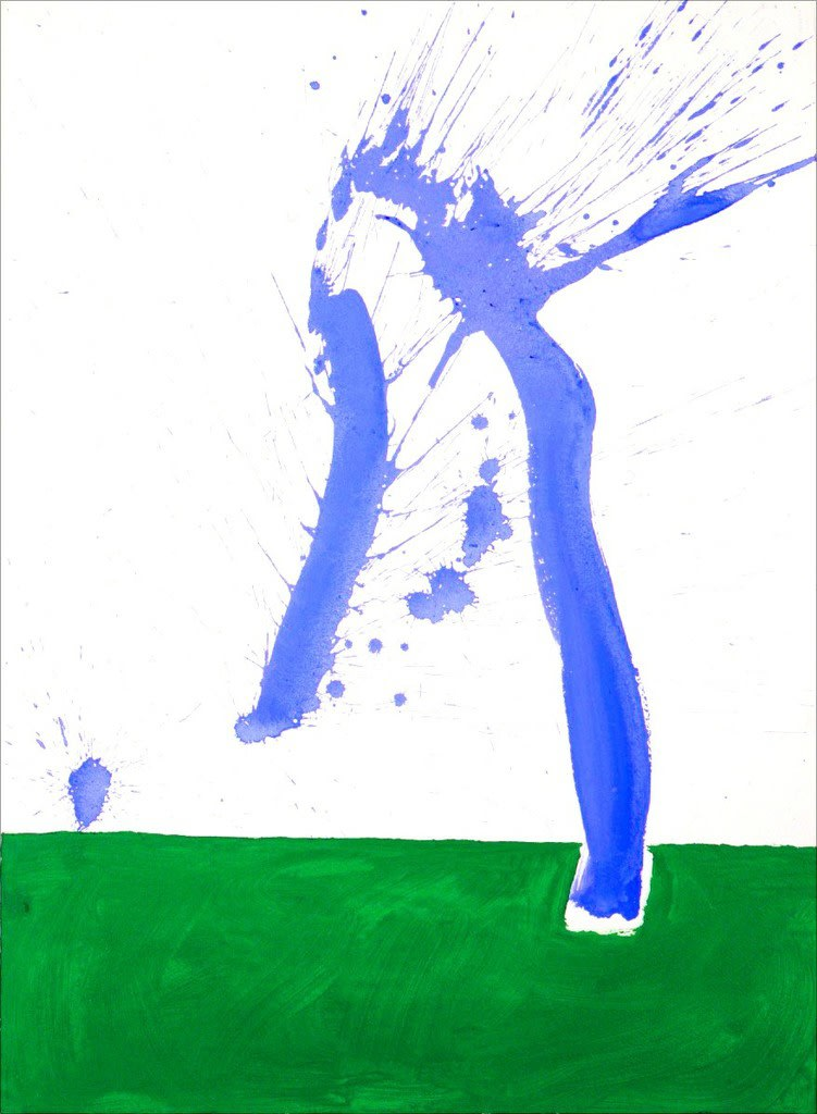 Robert MOTHERWELL (1915 – 1991) Study in Watercolour No. 1 (In Green and Blue), 1968 Watercolour on paper 30 ½ x 22 inches / 77.5 x 55.9 cm Artist Studio Number D68-597