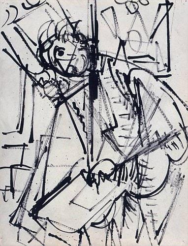 Hans HOFMANN (1880-1966) Self Portrait, c. 1935 India ink on paper 11 x 8 ½ inches / 27.9 x 21.6 cm