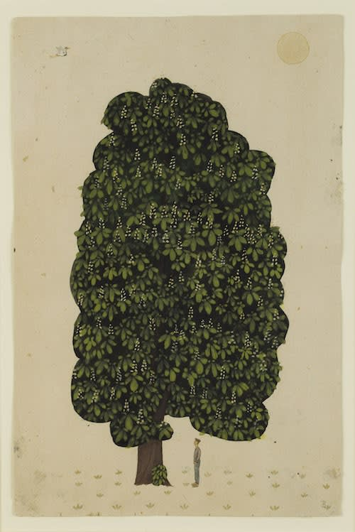 Jethro BUCK (b.1986) Horse chestnut tree Pigment paint on antique paper 13 x 8 ½ inches / 33 x 21.5 cm Initialed lower right