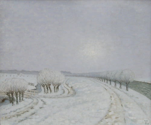 William DEGOUVE DE NUNCQUES (1867-1935) Paysage d'Hiver, 1917 Oil on canvas 30 x 35 ½ inches / 76 x 90 cm Initialed and dated lower right W. D. de N. 17