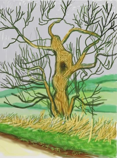 David HOCKNEY, OM, CH, RA (b.1937) The Arrival of Spring in Woldgate, East Yorkshire in 2011, 22nd March 2011 iPad drawing printed on paper, Edition 13/25 55 1⁄8 x 41 ¼ inches / 140 x 105 cm