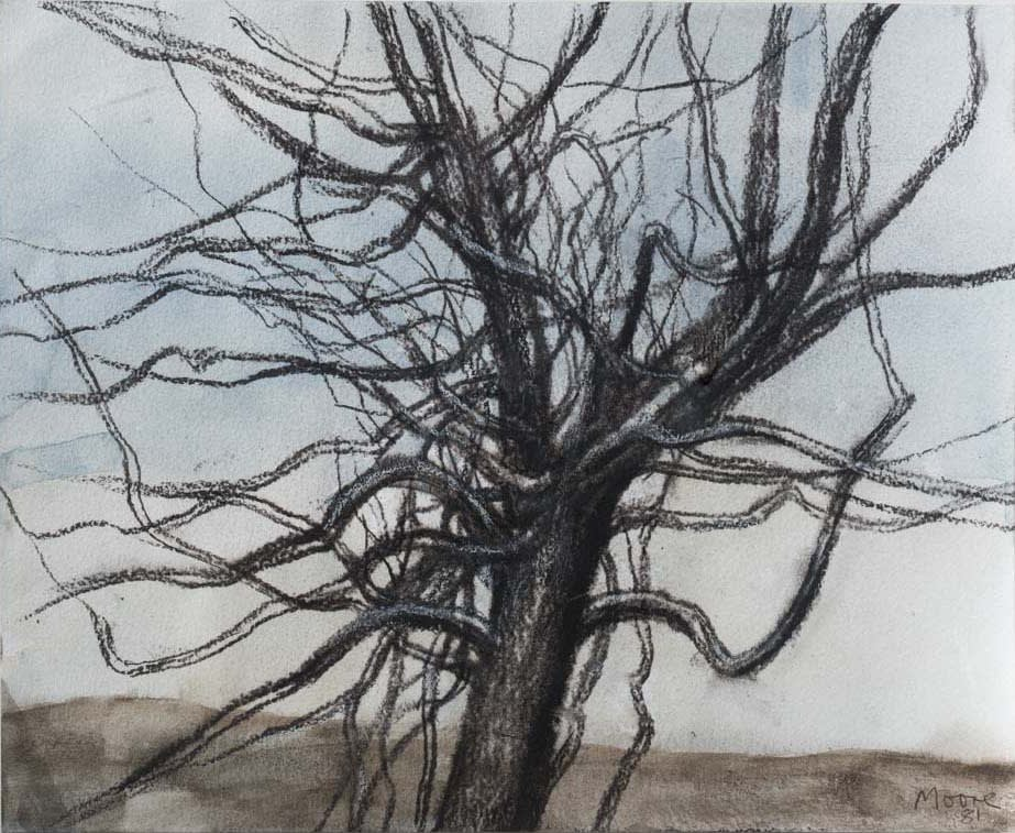 Henry MOORE, OM, CH, FBA, RBS (1898-1986) Tree in Winter I, 1981 Chalk, charcoal and watercolour, wax and crayon on paper 10 x 12 ½ inches / 25.4 x 31.8 cm Signed and dated lower right