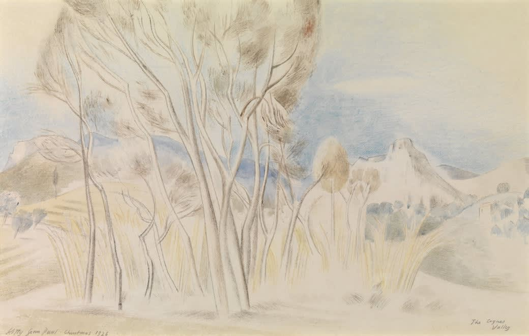 Paul NASH (1889-1946) The Cagnes Valley Watercolour on paper 10 ½ x 17 ½ inches / 27 x 44 cm Inscribed Kitty from Paul Christmas 1926 and The Cagnes Valley