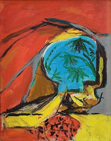 Graham SUTHERLAND (1903 – 1980) Cave Entrance, 1961 Oil on canvas 9 ½ x 7 ½ inches / 24 x 19 cm