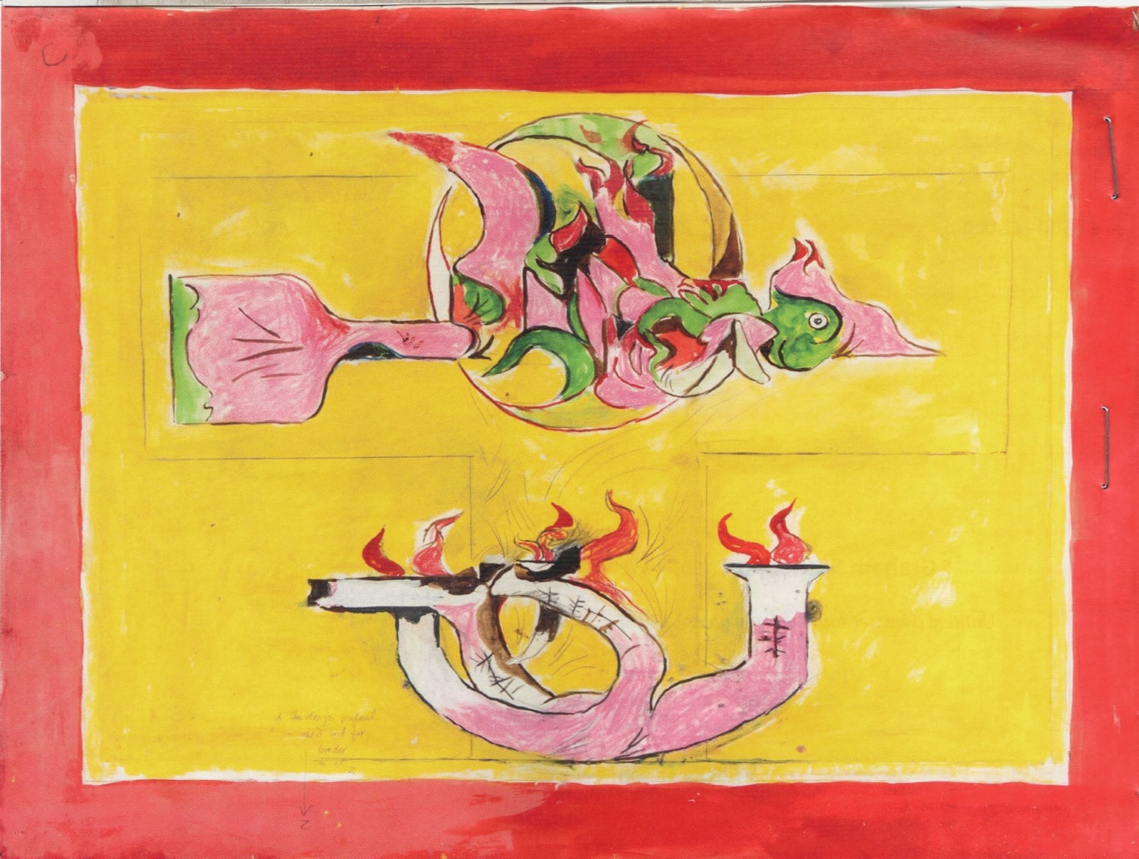 Graham SUTHERLAND (1903 – 1980) Firebird (Study for carpet design), c.1975 Coloured chalks, watercolour and graphite on paper 26 ¼ x 35 ¼ inches / 66.7 x 89.5 cm Inscribed with various notes and instructions on pencil by the artist