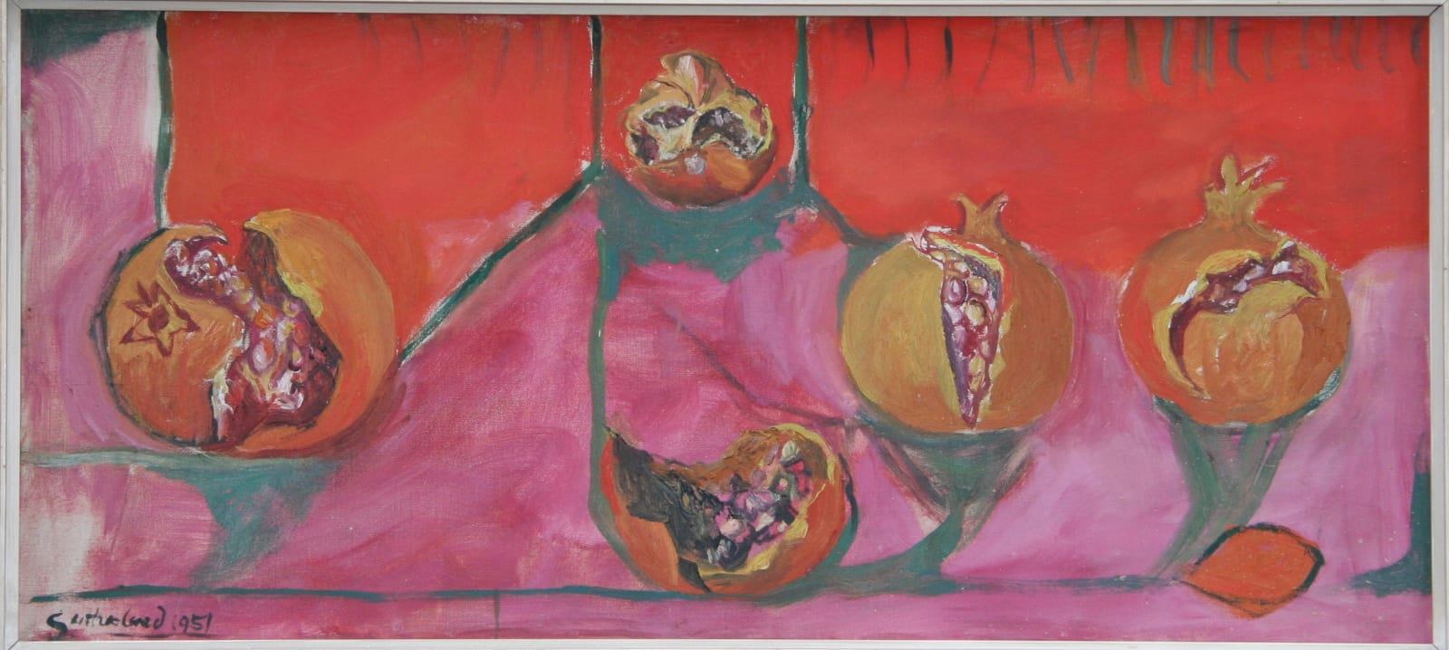 Graham SUTHERLAND (1903 – 1980) Pomegranates, 1951 Oil on canvas 15 ½ x 35 inches / 39.3 x 89 cm Signed and dated lower left