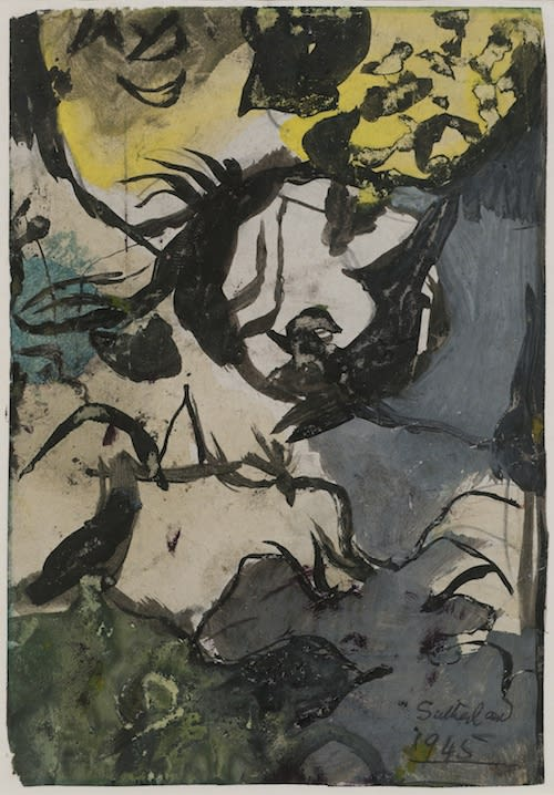 Graham SUTHERLAND (1903 – 1980) Study for Entrance to a Lane, 1945 Gouache 6 ¼ x 4 3/8 inches / 16 x 11 cm Signed and dated lower right