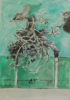Graham SUTHERLAND (1903 – 1980) Untitled (Thorn Structure) Ink and wash on paper Signed and dated lower left 9 7/8 x 13 ¾ inches / 25 x 35 cm