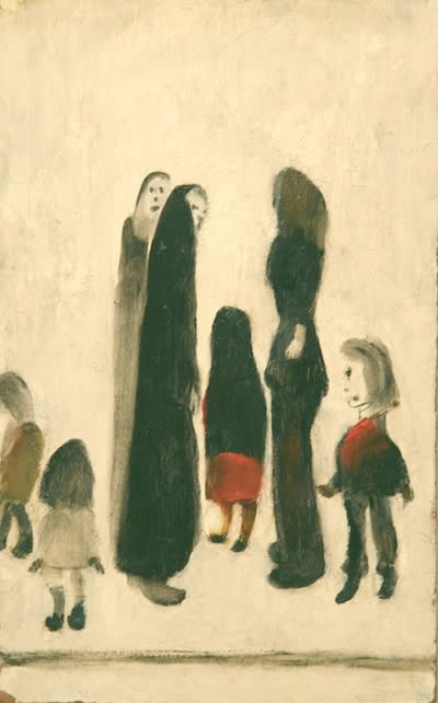 L.S. LOWRY (1887 – 1976) Untitled (Group of Seven Figures), undated Oil on board 11 5/8 x 7 . inches / 29.5 x 18.4 cm