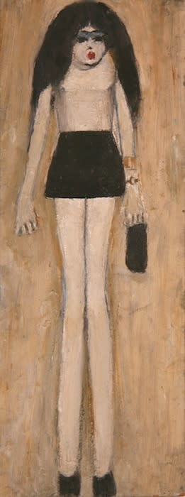 L.S. LOWRY (1887 – 1976) Untitled (Girl in Miniskirt), 1965 Oil on board 15 1/8 x 5 . inches / 38.4 x 14.5 cm