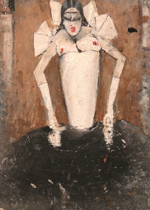L.S. LOWRY (1887 – 1976) Untitled (Puppet like girl), undated Oil on board, double sided 14 . x 10 . inches / 36.2 x 26 cm