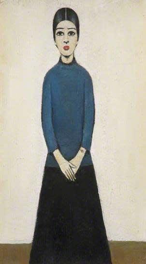 L.S. LOWRY (1887 – 1976) Ann, Undated Oil on board 12 . x 7 inches / 31.7 x 17.7 cm