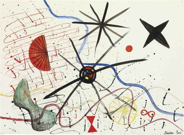 Alexander CALDER (1898 – 1976) Aerial View, 1944 Watercolour, gouache and ink on paper 22 ½ x 31 inches / 57.1 x 78.7 cm Signed and dated Calder 44 lower right