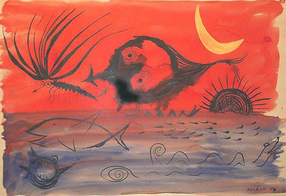 Alexander CALDER (1898 – 1976) Fish Fantasy, 1953 Gouache and black ink on paper 29 1/8 x 42 ½ inches / 74 x 108 cm Signed and dated Calder 53 lower right