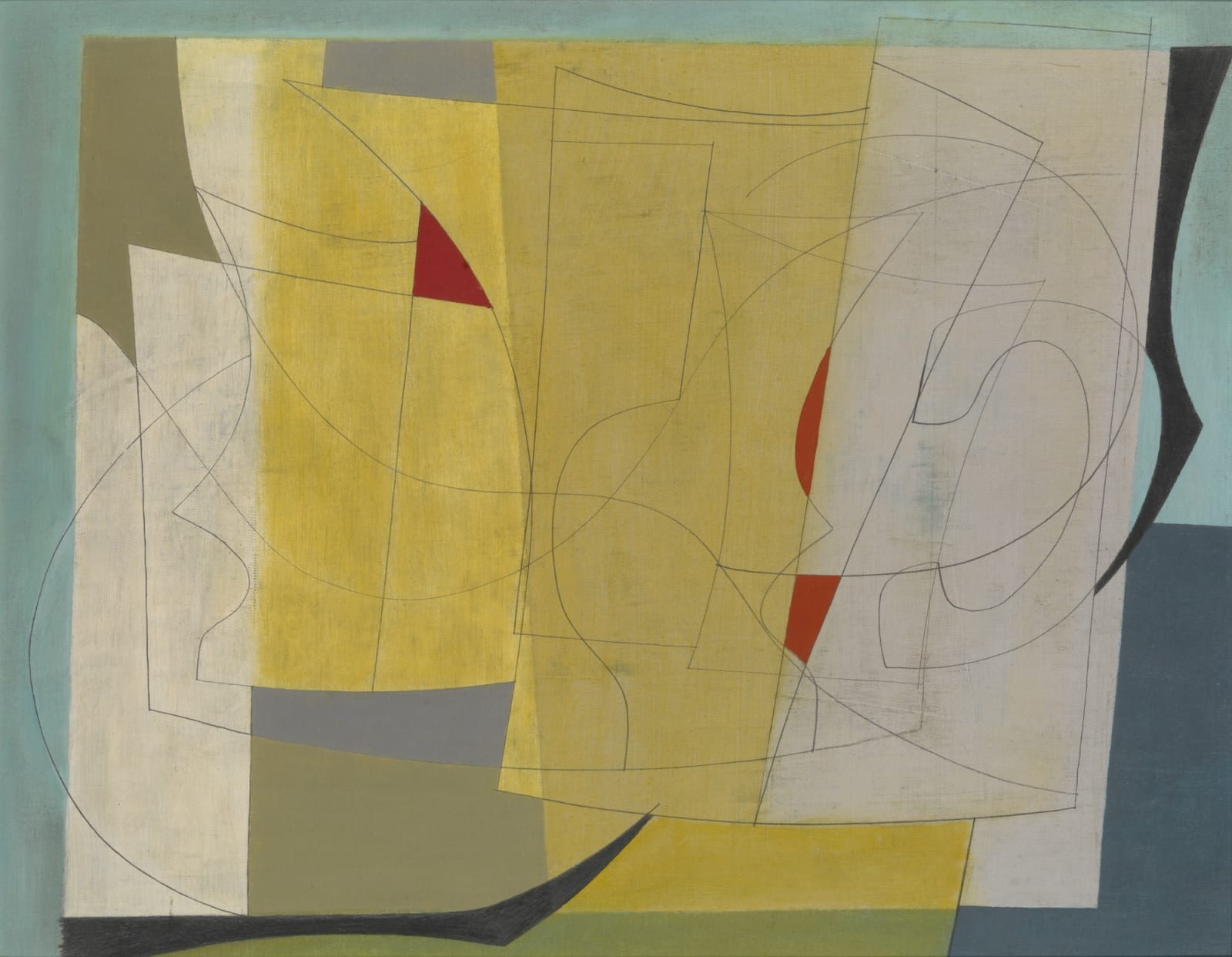 Ben NICHOLSON (1894 – 1982) February 26th 1952 (Lime Green), 1952 Oil and pencil on canvas 13 ¼ x 17 1/8 inches / 33.5 x 43.5 cm