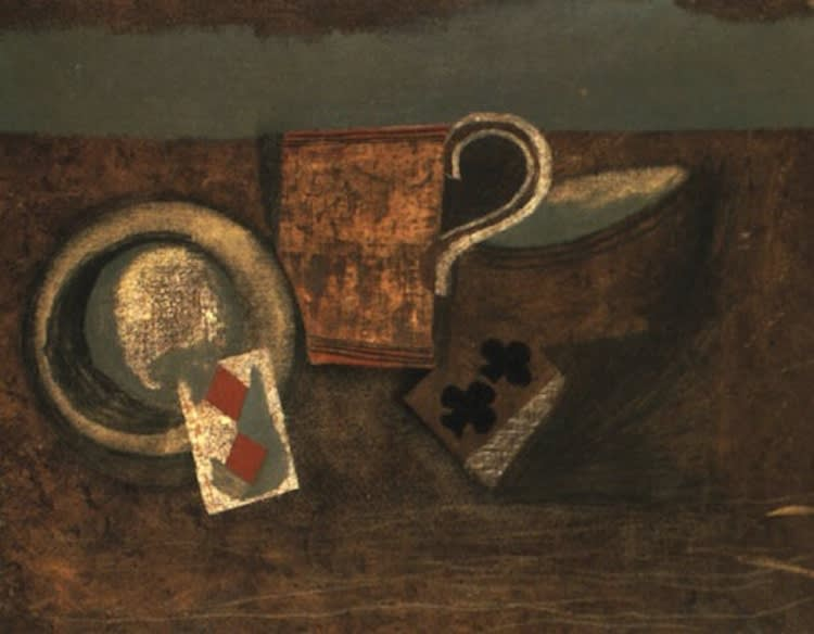 Ben NICHOLSON (1894 – 1982) Still Life: Jug and playing cards, 1930 Oil on canvas 24 ¼ x 30 ¼ inches / 61.5 x 76.8 cm Signed and dated 1930 on the canvas overlap, signed and inscribed on the backboard