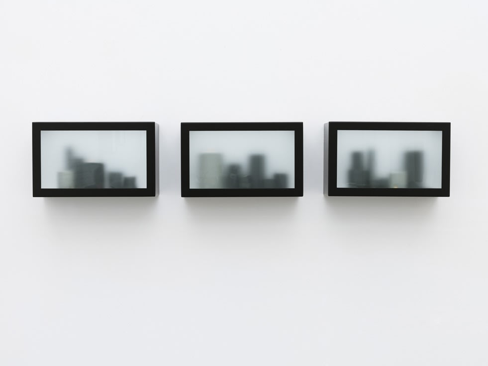 Edmund DE WAAL (b. 1964) Reading at Night 1-3, 2011 A series of 3 sprayed black aluminum cabinets each containing thrown porcelain vessels in varying glazes and covered in opaque glass Cabinets each 10 ¼ x 16 ¾ x 6 ¼ inches / 26 x 42.5 x 16 cm