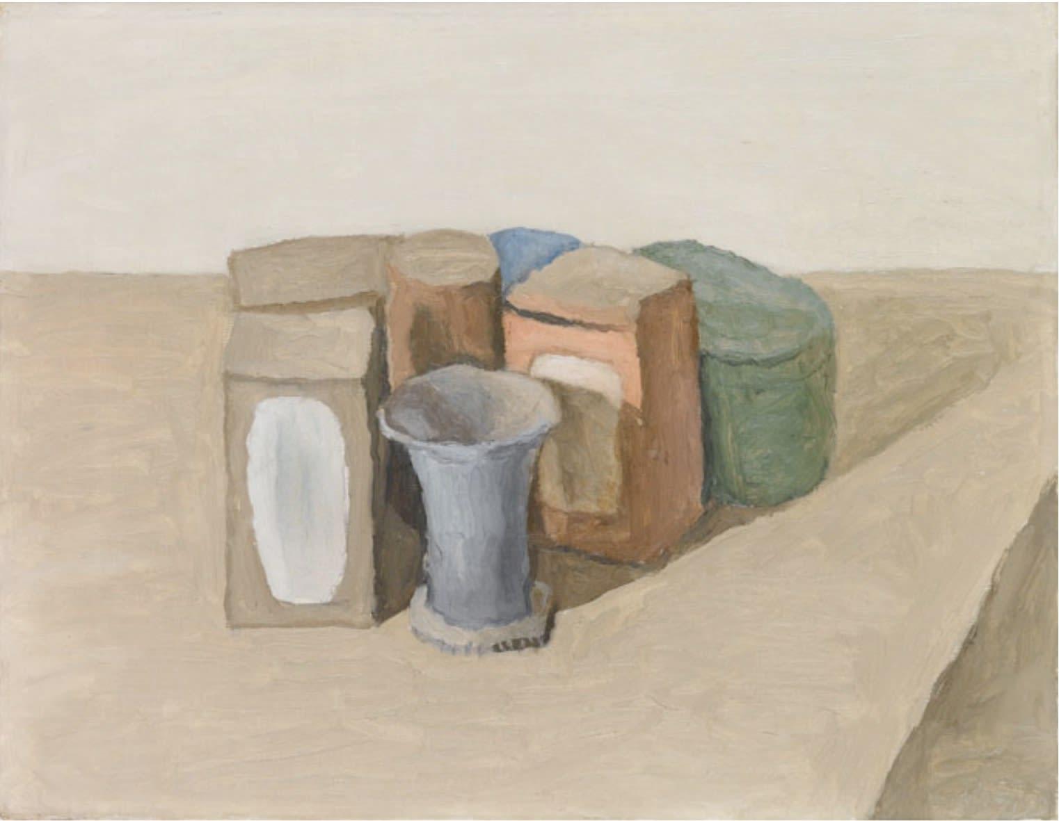 Giorgio MORANDI (1890 – 1964) Natura Morta, 1952 Oil on canvas 14 x 17 7/8 inches / 35.5 x 45.4 cm Signed lower right Morandi