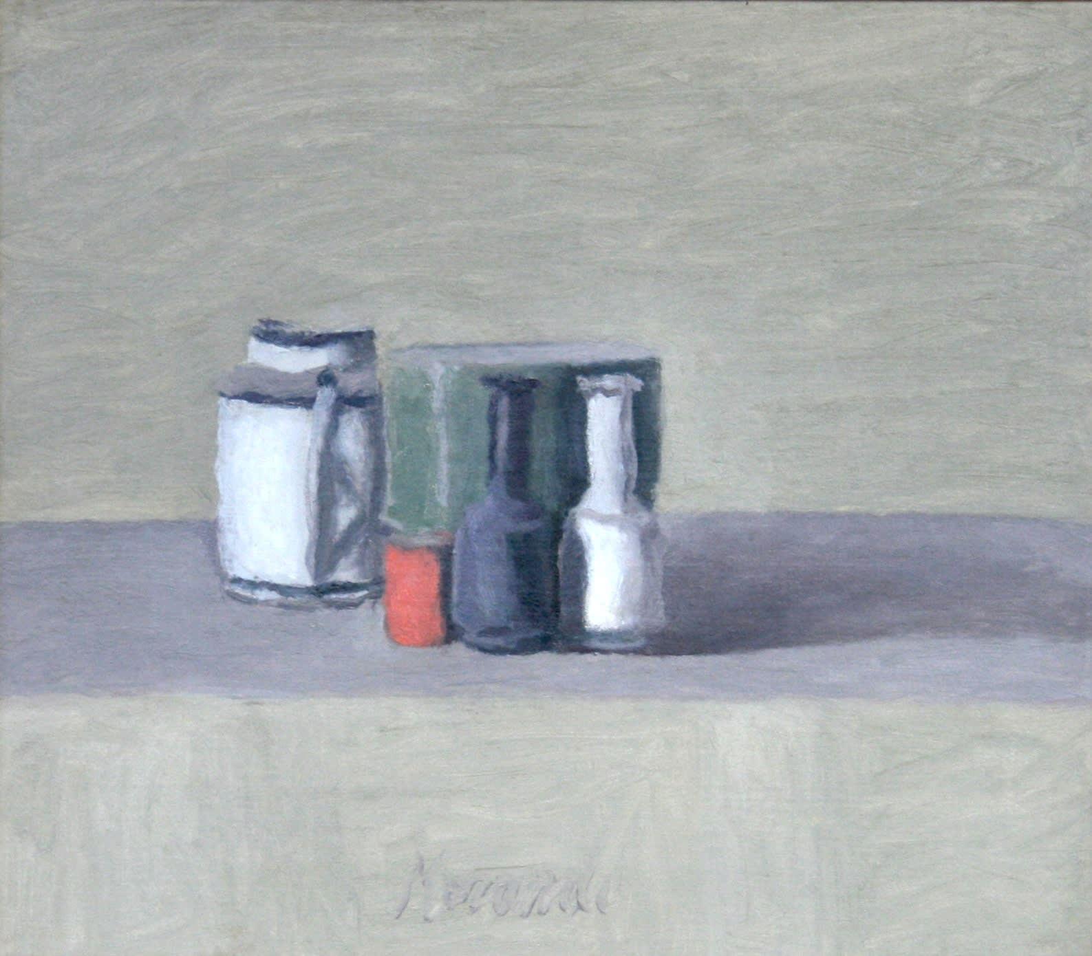 Giorgio MORANDI (1890 – 1964) Natura Morta, 1957 Oil on canvas 13 7/8 x 15 7/8 inches / 35.4 x 40.3 cm Signed lower centre Morandi