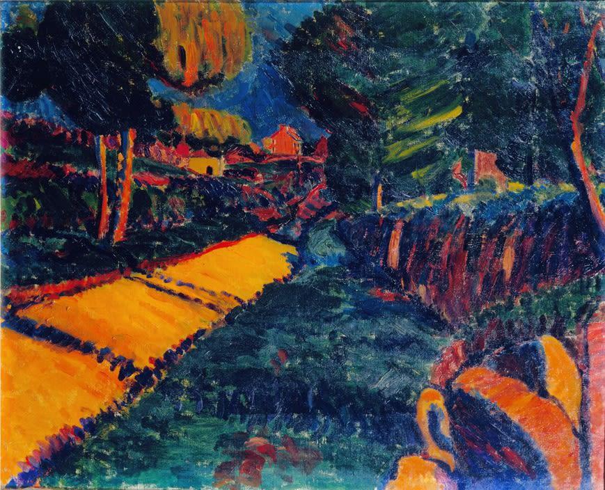 Cornish Landscape (The Orange Road), 1920 oil on canvas 21 x 25.5 inches
