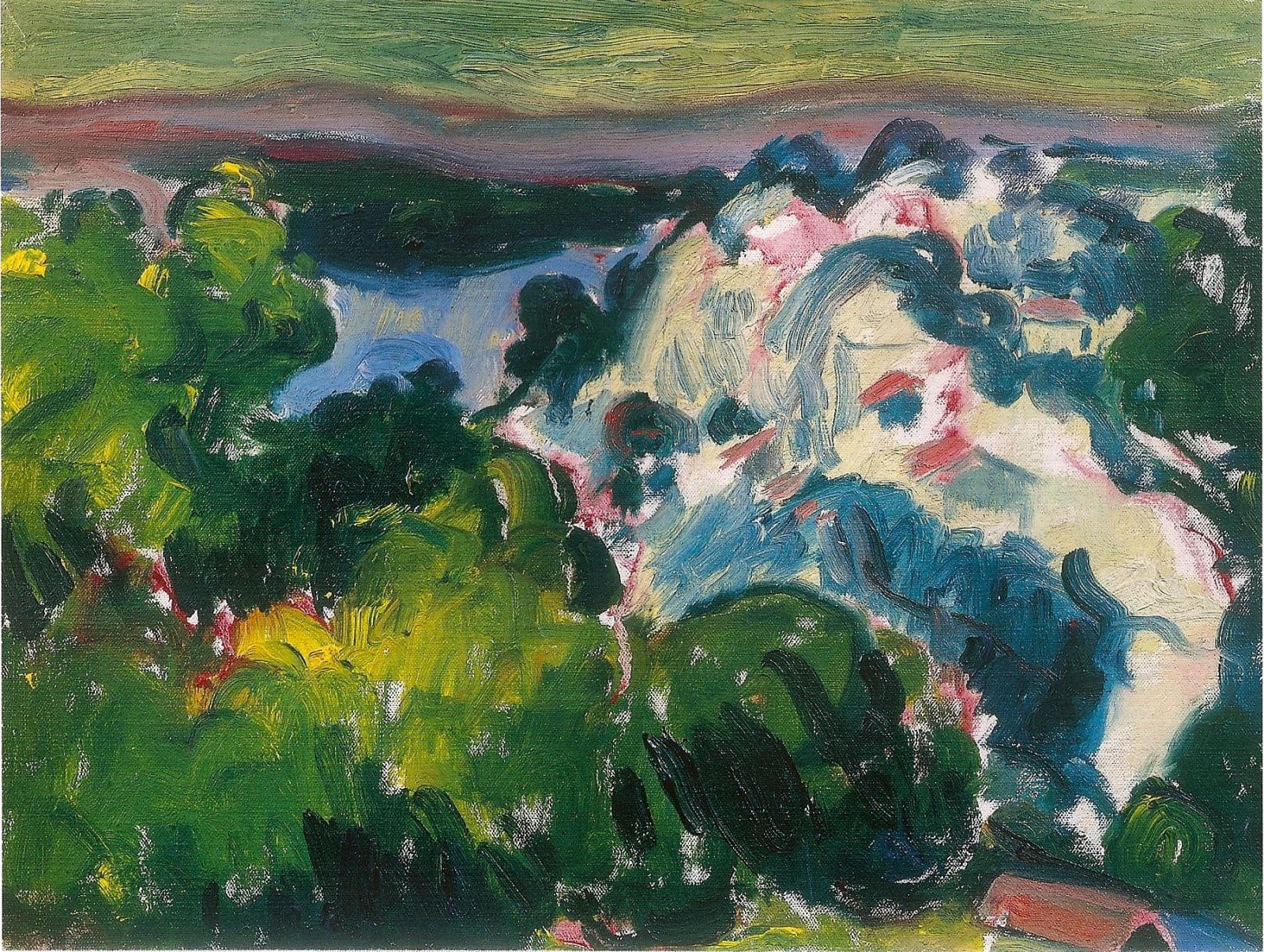 Landscape, Près d'Avignon, 1956 oil on canvas 12 x 16 inches (30 ½ x 40.7cm) inscr. verso 'Matthew Smith pres Avignon 1956'