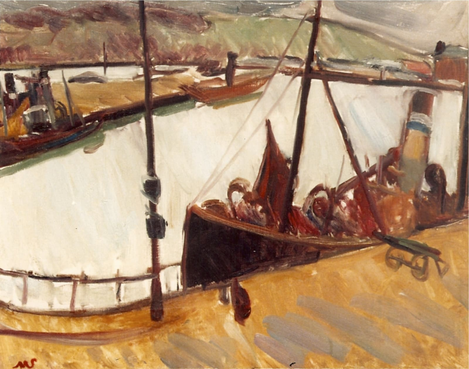 Dieppe Harbour (III) oil on canvas inscr. MS b.l. 25 ½ x 31 ¾ inches (65 x 81cm)