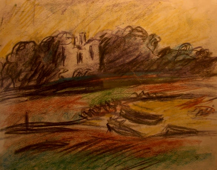 Welsh Landscape, 1950s Pastel on paper– double sided 10 x 12 inches (25.5 x 30.5cm) signed right and left and on reverse bottom right