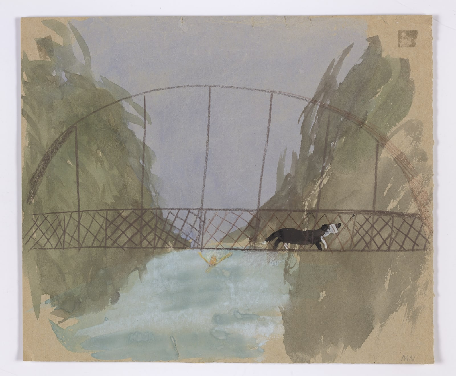 Mary Newcomb, Magpie dog going over bridge