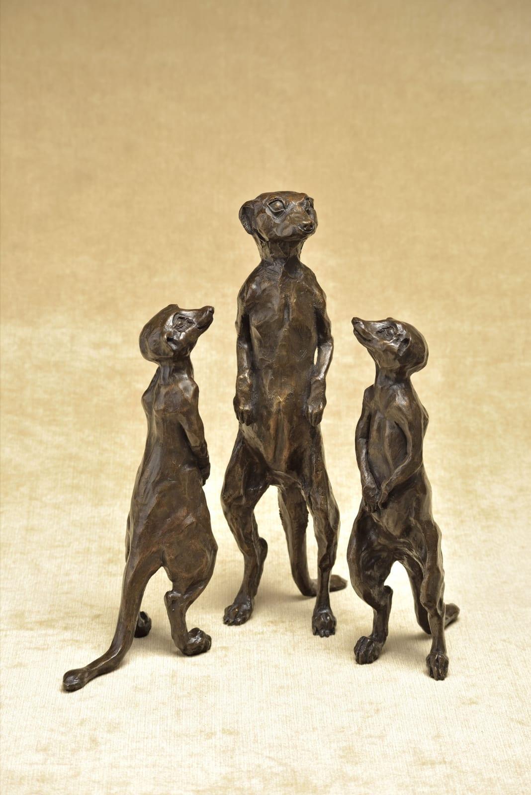 Meerkats, Resin Bronze. Central Meekat £675, Left Meerkat £625 Right Meerkat £595